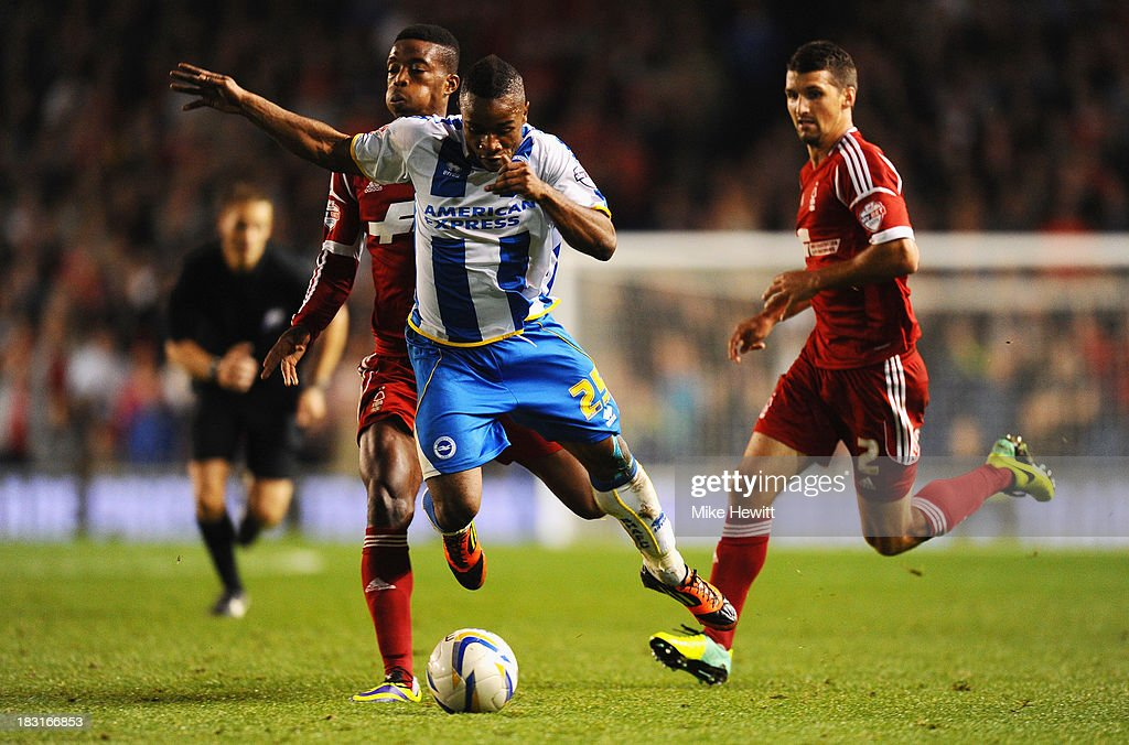 <a gi-track='captionPersonalityLinkClicked' href=/galleries/search?phrase=Nathaniel+Chalobah&family=editorial&specificpeople=5806371 ng-click='$event.stopPropagation()'>Nathaniel Chalobah</a> of Nottingham Forest is red carded for this foul on <a gi-track='captionPersonalityLinkClicked' href=/galleries/search?phrase=Kazenga+LuaLua&family=editorial&specificpeople=4185428 ng-click='$event.stopPropagation()'>Kazenga LuaLua</a> of Brighton during the Sky Bet Championship match between Brighton & Hove Albion and Nottingham Forest at Amex Stadium on October 5, 2013 in Brighton, England.