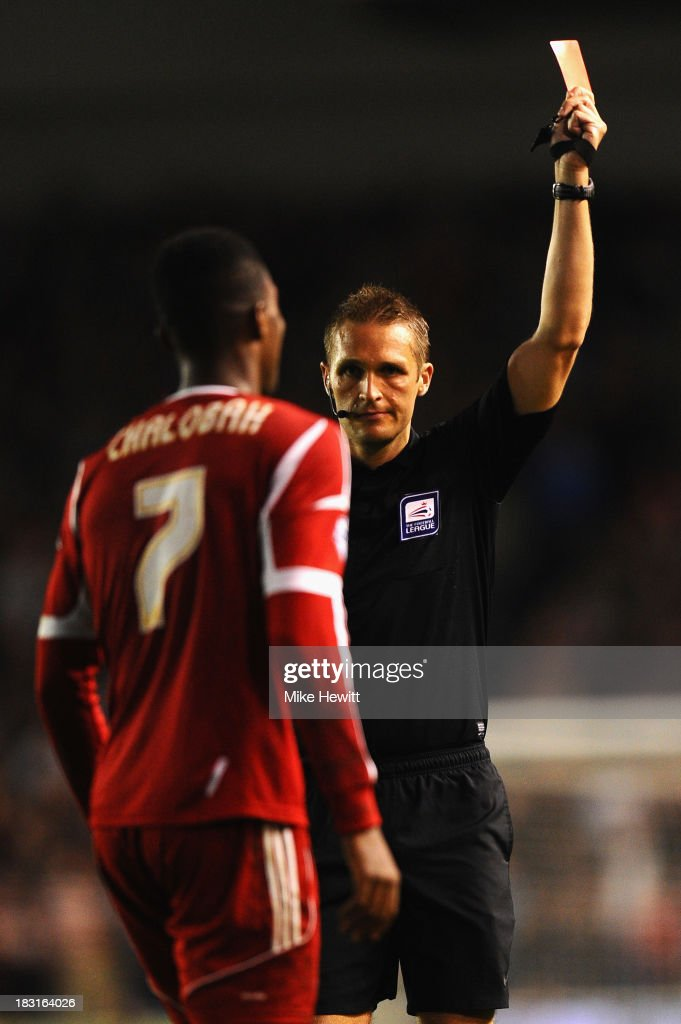 <a gi-track='captionPersonalityLinkClicked' href=/galleries/search?phrase=Nathaniel+Chalobah&family=editorial&specificpeople=5806371 ng-click='$event.stopPropagation()'>Nathaniel Chalobah</a> of Nottingham Forest is sent off by referee Craig Pawson during the Sky Bet Championship match between Brighton & Hove Albion and Nottingham Forest at Amex Stadium on October 5, 2013 in Brighton, England.