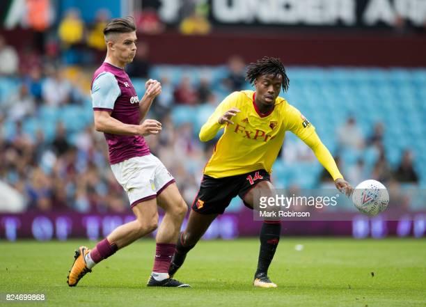 Nathaniel Chalobah of Watford and Jack Grealish of Aston Villa during the pre season friendly match between Aston Villa and Watford at Villa Park on...