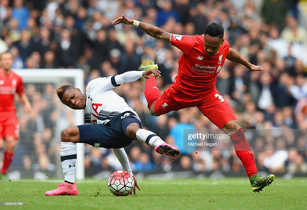 <a gi-track='captionPersonalityLinkClicked' href=/galleries/search?phrase=Nathaniel+Clyne+-+Soccer+Player&family=editorial&specificpeople=5738873 ng-click='$event.stopPropagation()'>Nathaniel Clyne</a> of Liverpool and <a gi-track='captionPersonalityLinkClicked' href=/galleries/search?phrase=Clinton+N%27Jie&family=editorial&specificpeople=11702476 ng-click='$event.stopPropagation()'>Clinton N'Jie</a> of Tottenham Hotspur compete for the ball during the Barclays Premier League match between Tottenham Hotspur and Liverpool at White Hart Lane on October 17, 2015 in London, England.