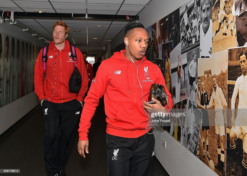 Nathaniel Clyne of Liverpool arrives before a Premier League match between Swansea City and Liverpool at the Liberty Stadium on May 01, 2016 in Swansea, Wales.