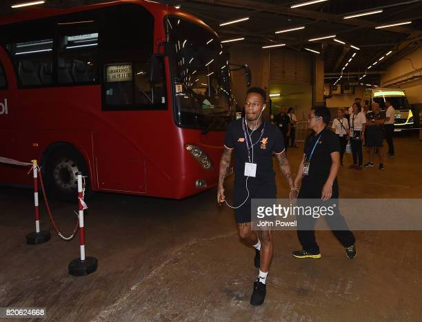 Nathaniel Clyne of Liverpool arrives before the Premier League Asia Trophy match between Liverpool FC and Leicester City FC at the Hong Kong Stadium...