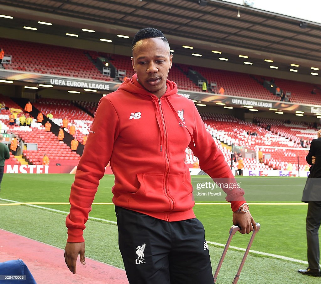 <a gi-track='captionPersonalityLinkClicked' href=/galleries/search?phrase=Nathaniel+Clyne&family=editorial&specificpeople=5738873 ng-click='$event.stopPropagation()'>Nathaniel Clyne</a> of Liverpool arrives before the UEFA Europa League Semi Final: Second Leg match between Liverpool and Villarreal CF at Anfield on May 05, 2016 in Liverpool, England.