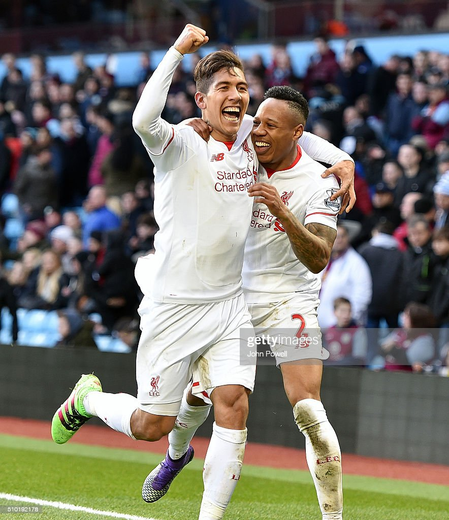 <a gi-track='captionPersonalityLinkClicked' href=/galleries/search?phrase=Nathaniel+Clyne&family=editorial&specificpeople=5738873 ng-click='$event.stopPropagation()'>Nathaniel Clyne</a> of Liverpool celebrates after scoring during the Barclays Premier League match between Aston Villa and Liverpool at Villa Park on February 14, 2016 in Birmingham, England.