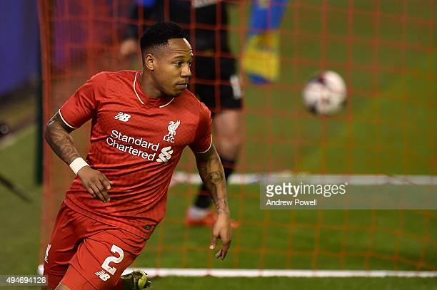 Nathaniel Clyne of Liverpool celebrates his goal during the Capital One Cup Fourth Round match between Liverpool and AFC Bournemouth at Anfield on...