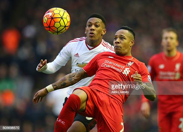 Nathaniel Clyne of Liverpool clears the ball during the Barclays Premier League match between Liverpool and Manchester United at Anfield on January...