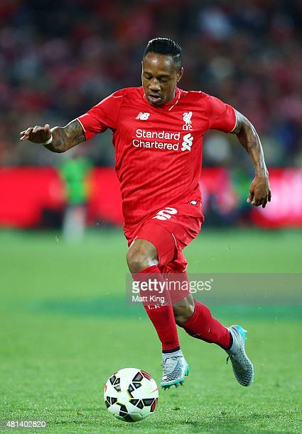 Nathaniel Clyne of Liverpool controls the ball during the international friendly match between Adelaide United and Liverpool FC at Adelaide Oval on...