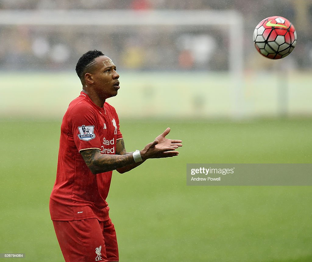 <a gi-track='captionPersonalityLinkClicked' href=/galleries/search?phrase=Nathaniel+Clyne&family=editorial&specificpeople=5738873 ng-click='$event.stopPropagation()'>Nathaniel Clyne</a> of Liverpool during a Premier League match between Swansea City and Liverpool at the Liberty Stadium on May 01, 2016 in Swansea, Wales.