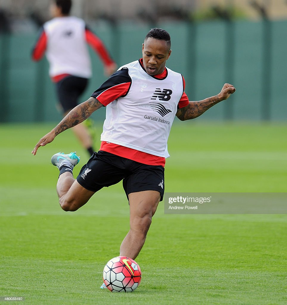 Nathaniel Clyne of Liverpool during a training session at Melwood Training Ground on July 9, 2015 in Liverpool, England.