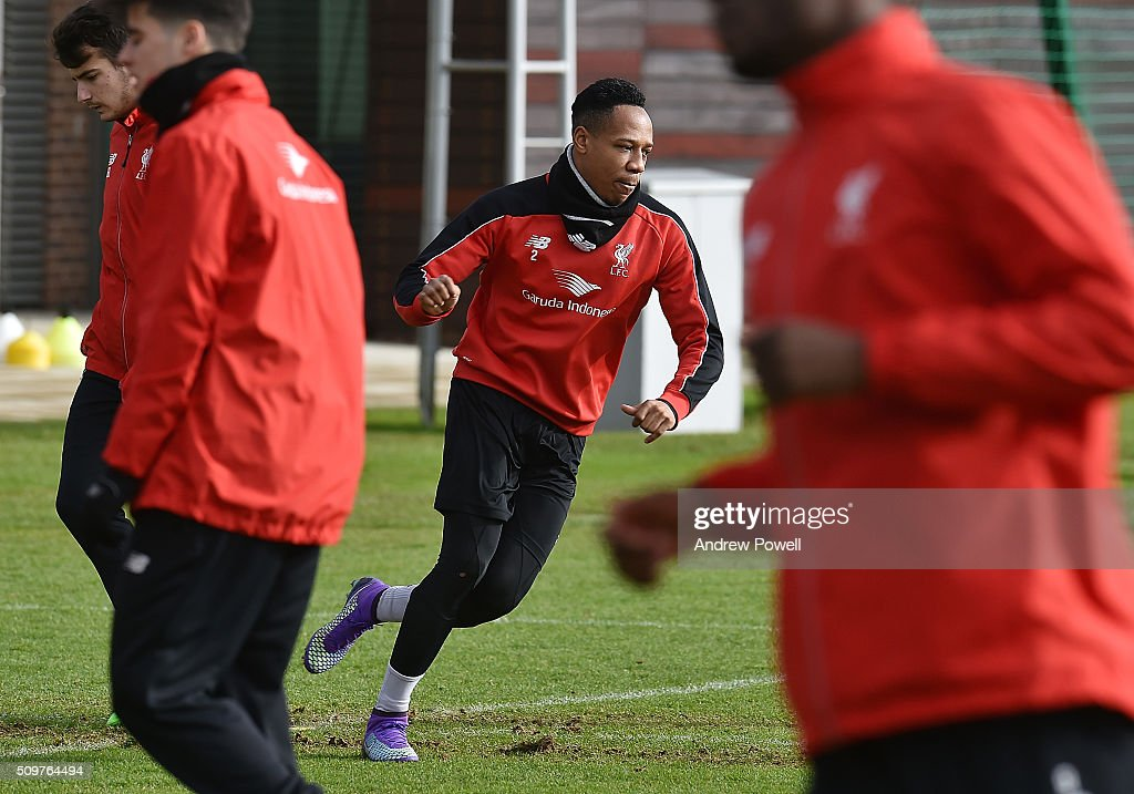 <a gi-track='captionPersonalityLinkClicked' href=/galleries/search?phrase=Nathaniel+Clyne&family=editorial&specificpeople=5738873 ng-click='$event.stopPropagation()'>Nathaniel Clyne</a> of Liverpool during a training session at Melwood Training Ground on February 12, 2016 in Liverpool, England.