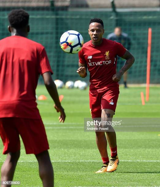 Nathaniel Clyne of Liverpool during a training session at Melwood Training Ground on July 6 2017 in Liverpool England
