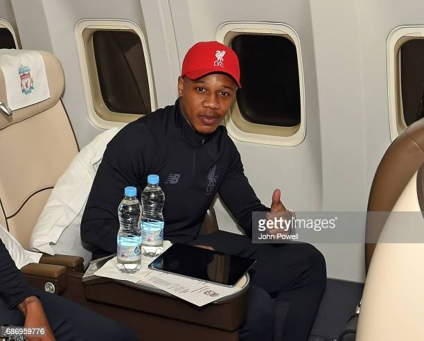 Nathaniel Clyne of Liverpool on the plane to Australia at Melwood Training Ground on May 22 2017 in Liverpool England