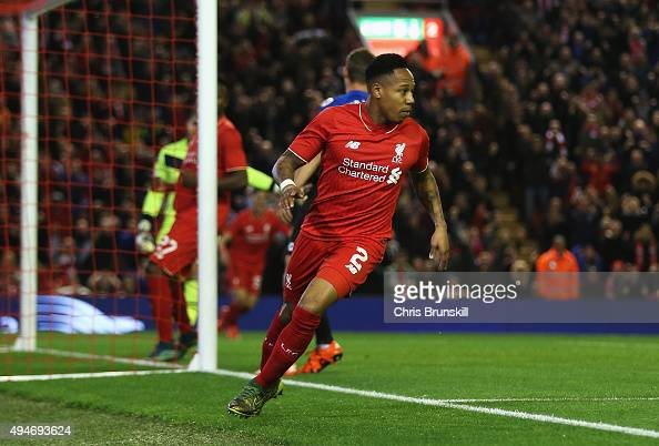 Nathaniel Clyne of Liverpool turns away after scoring the opening goal during the Capital One Cup Fourth Round match between Liverpool and AFC...