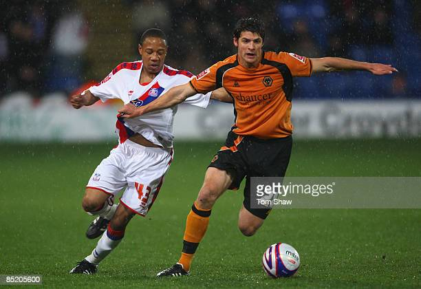 Nathaniel Clyne of Palace and George Friend of Wolves battle during the Coca Cola Championship match between Crystal Palace and Wolverhampton...