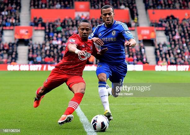 Nathaniel Clyne of Southampton and Ryan Bertrand of Chelsea compete for the ball during the Barclays Premier League match between Southampton and...
