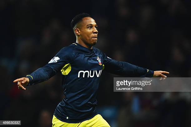 Nathaniel Clyne of Southampton celebrates as he scores their first and equalising goal during the Barclays Premier League match between Aston Villa...