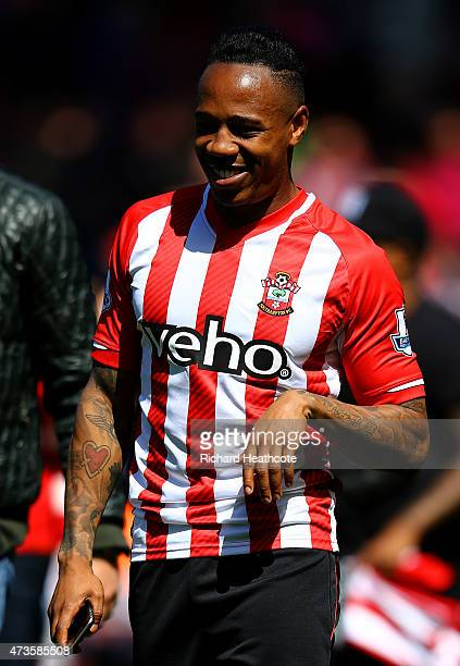 Nathaniel Clyne of Southampton celebrates his team's win after the Barclays Premier League match between Southampton and Aston Villa at St Mary's...