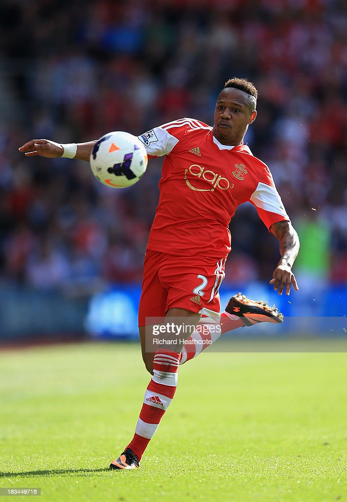 <a gi-track='captionPersonalityLinkClicked' href=/galleries/search?phrase=Nathaniel+Clyne&family=editorial&specificpeople=5738873 ng-click='$event.stopPropagation()'>Nathaniel Clyne</a> of Southampton in action during the Barclays Premier League match between Southampton and Swansea City at St Mary's Stadium on October 6, 2013 in Southampton, England.
