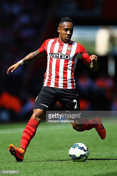 Nathaniel Clyne of Southampton in action during the Barclays Premier League match between Southampton and Aston Villa at St Mary's Stadium on May 16...