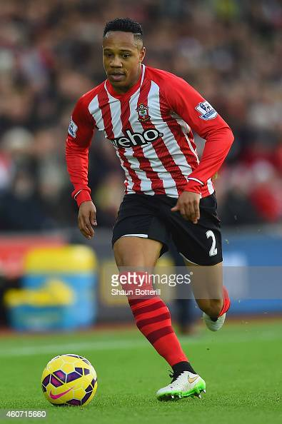 Nathaniel Clyne of Southampton runs with the ball during the Barclays Premier League match between Southampton and Everton at St Mary's Stadium on...