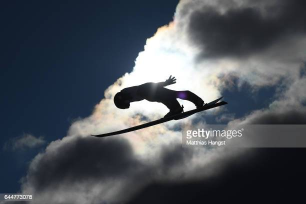 Nathaniel Mah of Canada competes in the Men's Nordic Combined HS100 during the FIS Nordic World Ski Championships on February 24 2017 in Lahti Finland