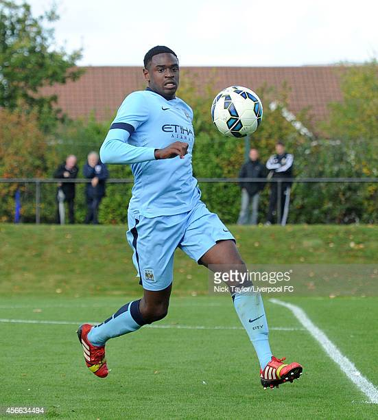 Nathaniel Oseni of Manchester City in action during the Barclays Premier League Under 18 fixture between Liverpool and Manchester City at the...