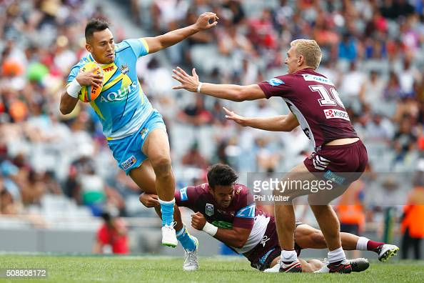Nathaniel Peteru of the Titans is tackled during the 2016 Auckland Nines quarterfinal match between the Titans and the Sea Eagles at Eden Park on...