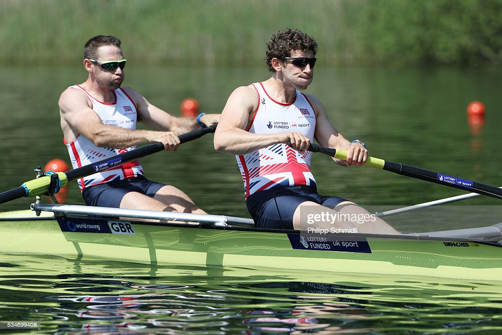 Nathaniel Reilly O'donnell (L) and Matthew Tarrant of Great Britain compete in the Men's Pair heats during day 1 of the 2016 World Rowing Cup II at Rotsee on May 27, 2016 in Lucerne, Switzerland.