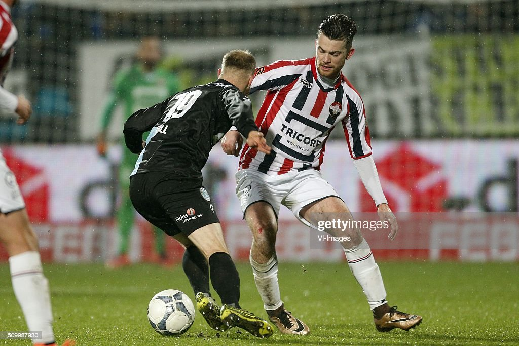 , Nathaniel Will of De Graafschap, Erik Falkenburg of Willem II during the Dutch Eredivisie match between Willem II Tilburg and De Graafschap at Koning Willem II stadium on February 13, 2016 in Tilburg, The Netherlands