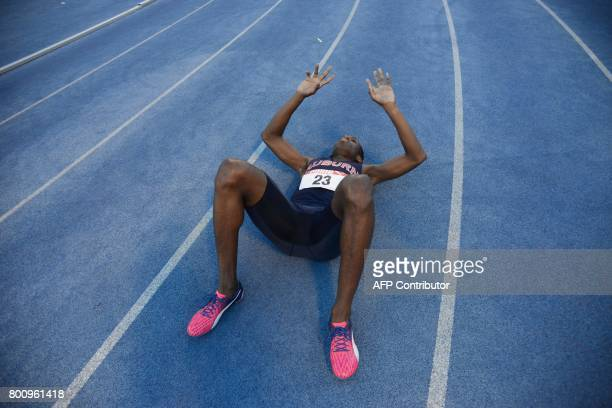 TOPSHOT Nathon Allen reacts after winning the mens 400m final during the National senior trials held at the National Stadium Kingston on June 25 2017...