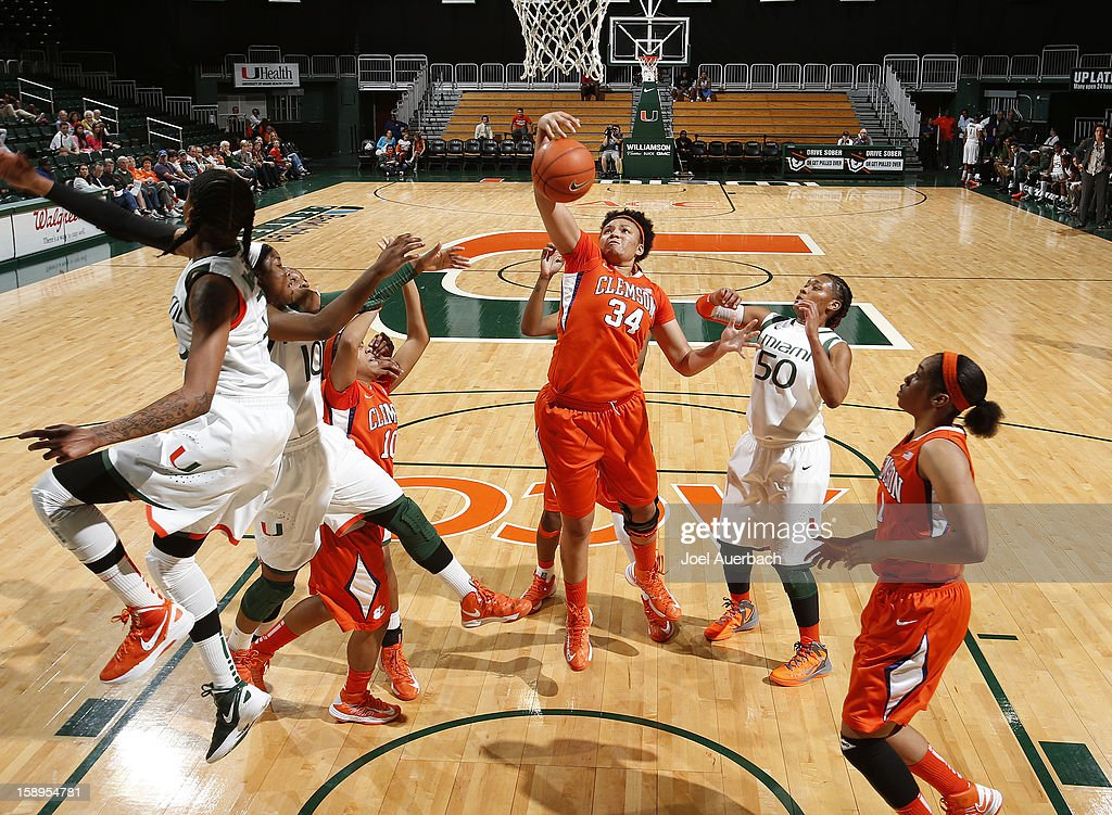Natiece Ford #34 of the Clemson Lady Tigers gets the defensive rebound against the Miami Hurricanes on January 3, 2013 at the BankUnited Center in Coral Gables, Florida. Miami defeated Clemson 78-56.