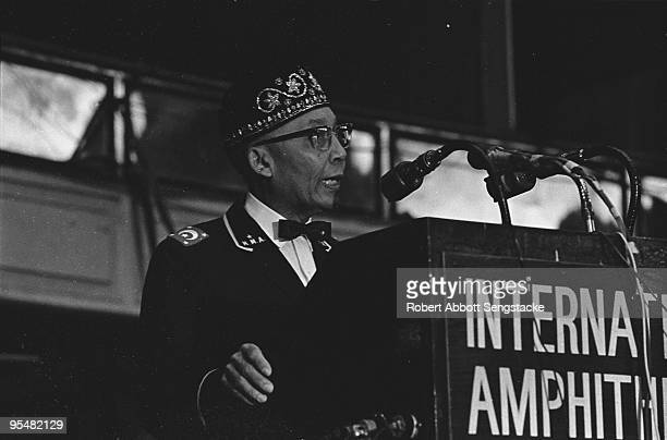 Nation of Islam leader Elijah Muhammad delivers a keynote speech at the Saviour's Day celebrations at International Ampitheatre Chicago Illinois...