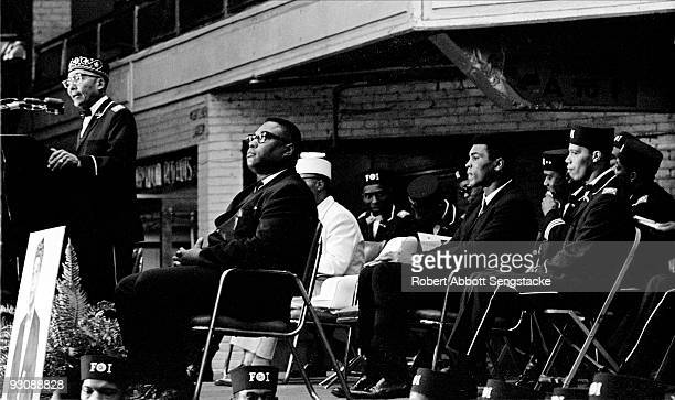 Nation of Islam leader Elijah Muhammad speaks from a lecturn during Saviour's Day celebrations at the International Ampitheatre Chicago Illinois...