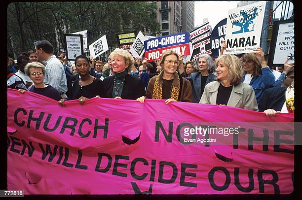 National Abortion and Reproductive Rights Action League leader Kelli Conlin feminist Gloria Steinem actress Olympia Dukakis and other protestors hold...