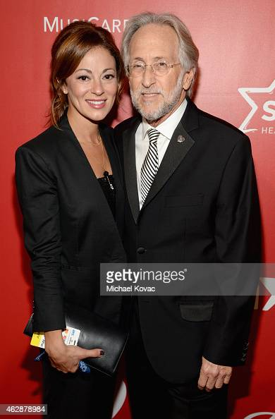 National Academy of Recording Arts and Sciences President Neil Portnow and Michele Tebbe attend the 25th anniversary MusiCares 2015 Person Of The...
