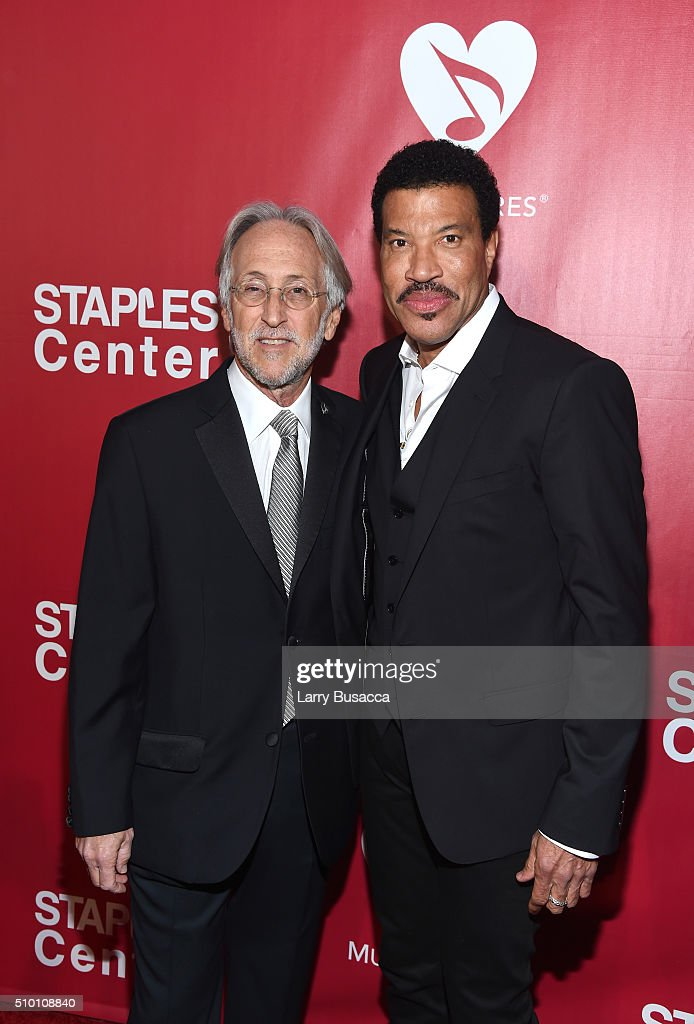 National Academy of Recording Arts and Sciences President Neil Portnow and honoree Lionel Richie attend the 2016 MusiCares Person of the Year...