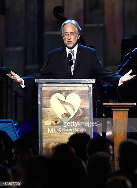 National Academy of Recording Arts and Sciences President Neil Portnow soeajs onstage at the 25th anniversary MusiCares 2015 Person Of The Year Gala...