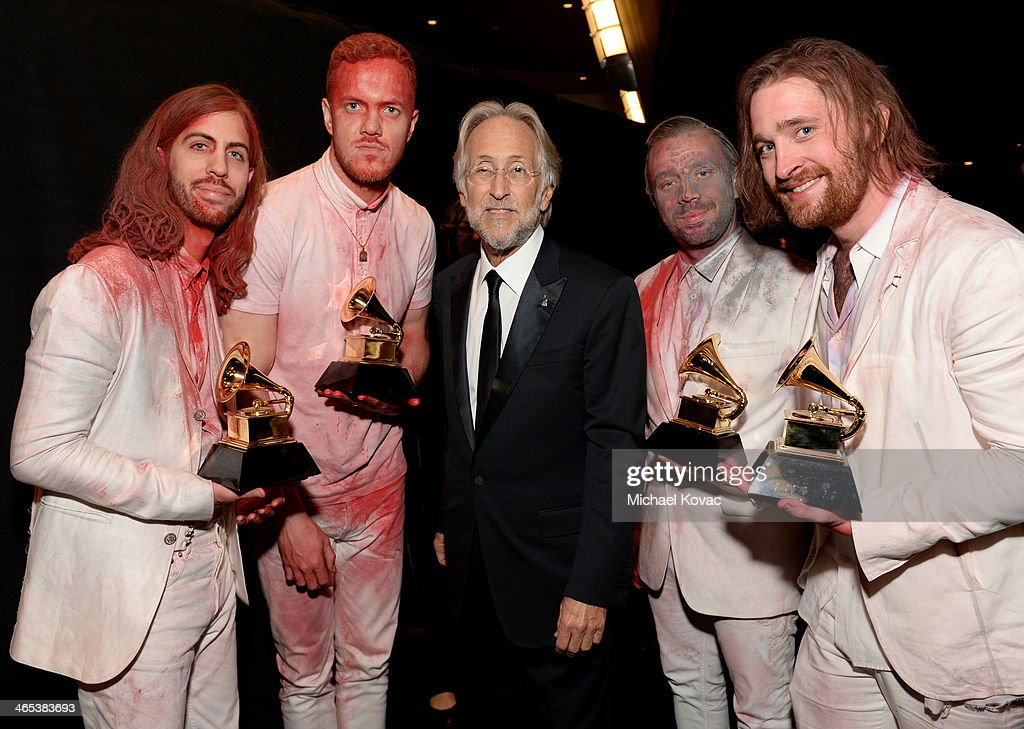 National Academy of Recording Arts and Sciences President Neil Portnow (C), (L-R) musicians Wayne Wing Sermon, Ben McKee, Dan Reynolds and Daniel Platzman of Imagine Dragons attend the 56th GRAMMY Awards at Staples Center on January 26, 2014 in Los Angeles, California.