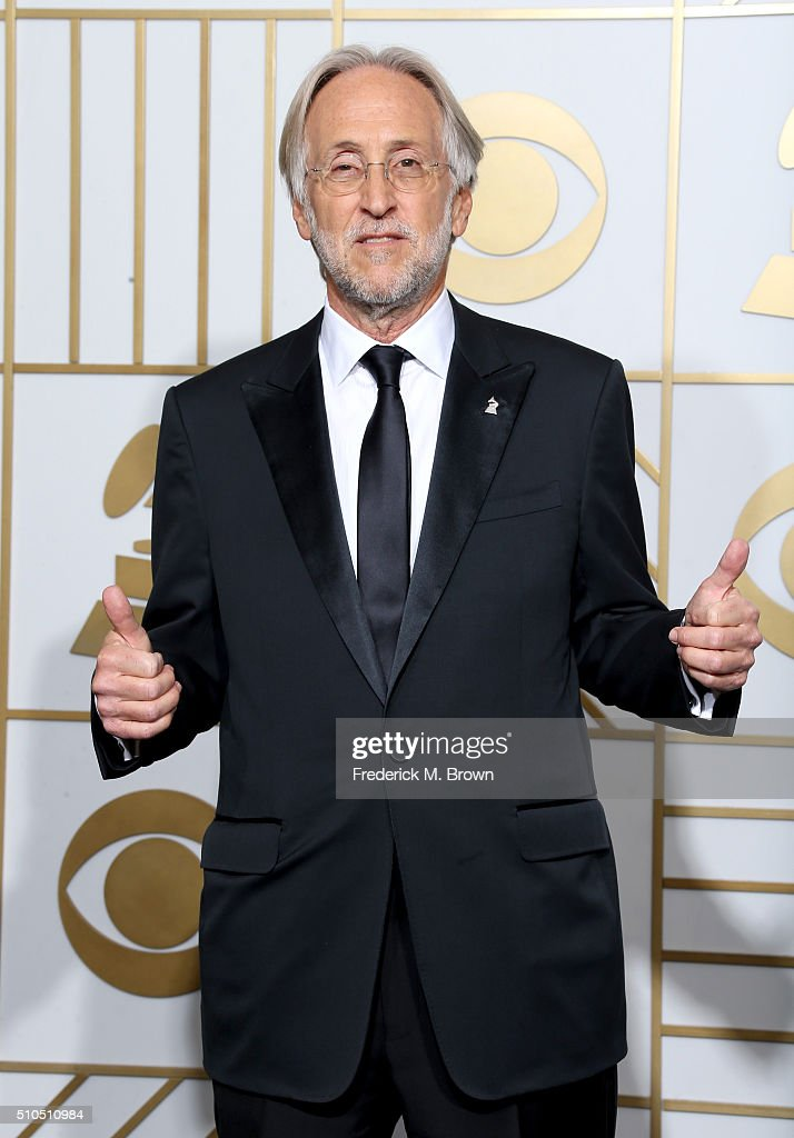 National Academy of Recording Arts and Sciences President Neil Portnow poses in the press room during The 58th GRAMMY Awards at Staples Center on February 15, 2016 in Los Angeles, California.