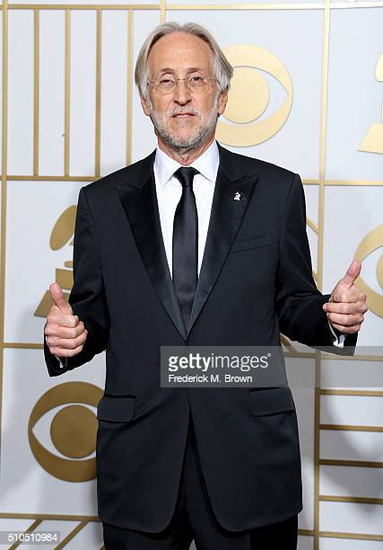 National Academy of Recording Arts and Sciences President Neil Portnow poses in the press room during The 58th GRAMMY Awards at Staples Center on...