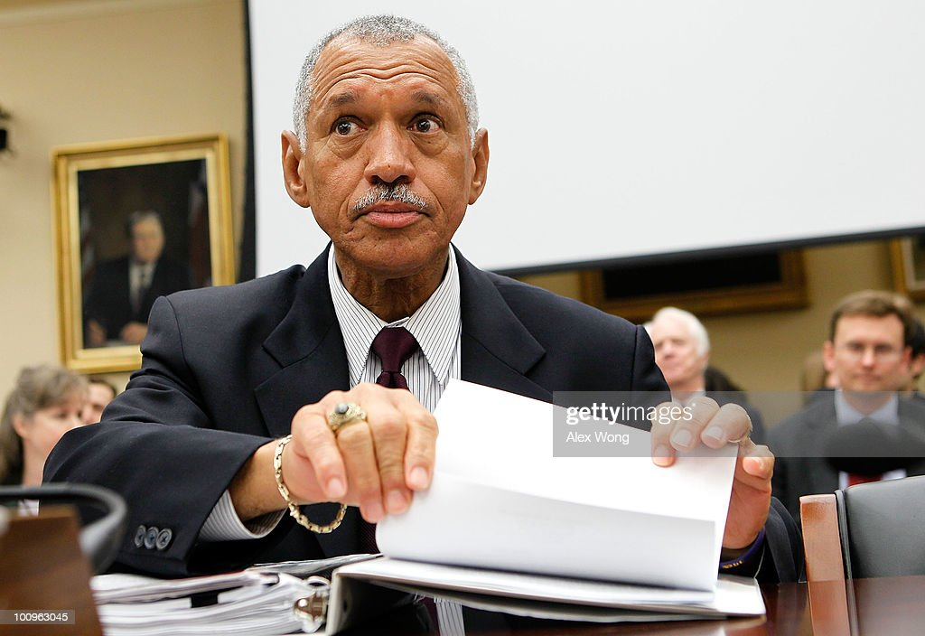National Aeronautics and Space Administration (NASA) Administrator Charles Bolden waits for the beginning of a hearing before the House Science and Technology Committee May 26, 2010 on Capitol Hill in Washington, DC. The hearing was to review proposed human spaceflight plan by NASA.