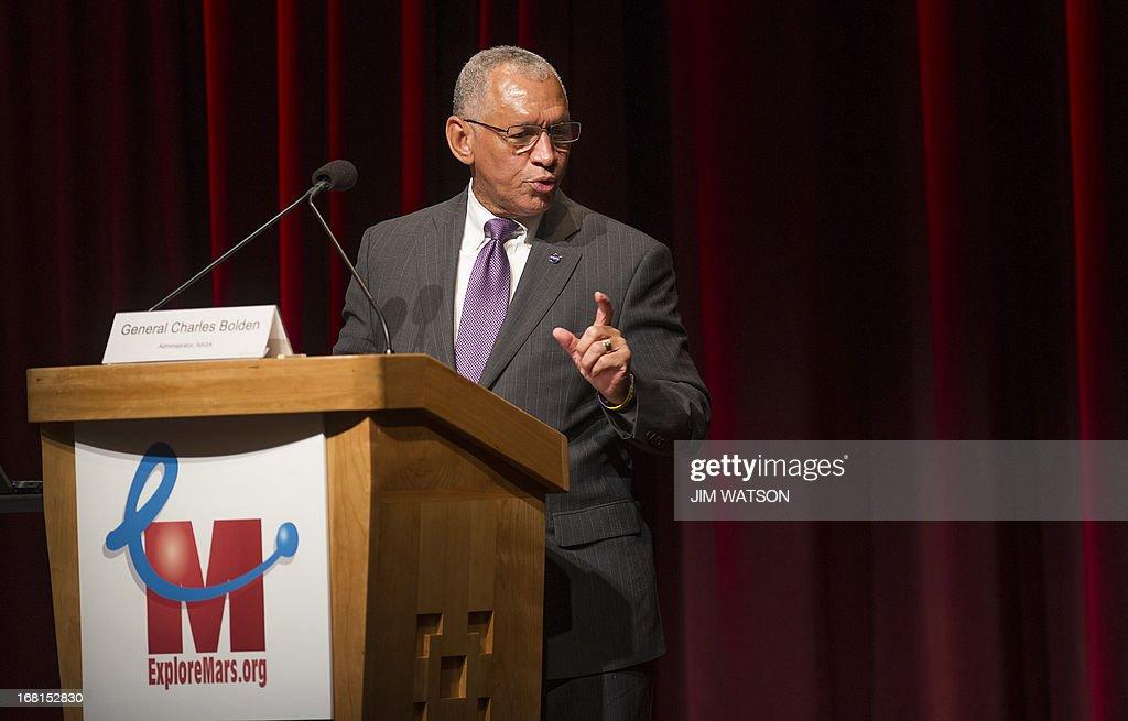 National Aeronautics and Space Administration (NASA) Administrator Charles Bolden delivers remarks at the opening of the 'Human 2 Mars Summit' at George Washington University in Washington, DC, May 6, 2013. AFP PHOTO/JIM WATSON