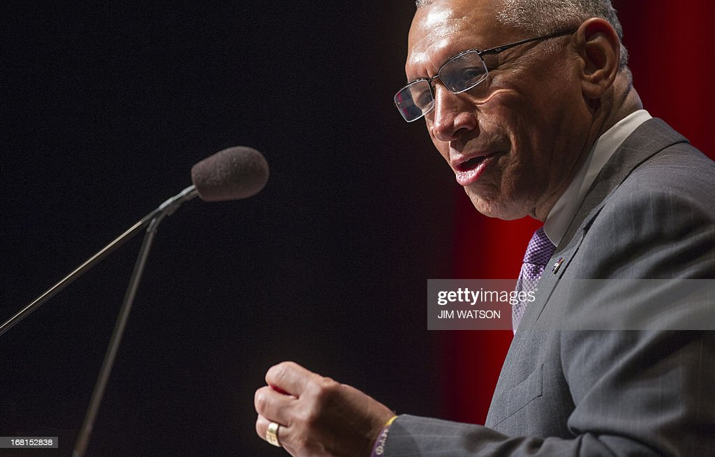 National Aeronautics and Space Administration (NASA) Administrator Charles Bolden delivers remarks at the opening of the 'Human 2 Mars Summit' at George Washington University in Washington, DC, May 6, 2013.
