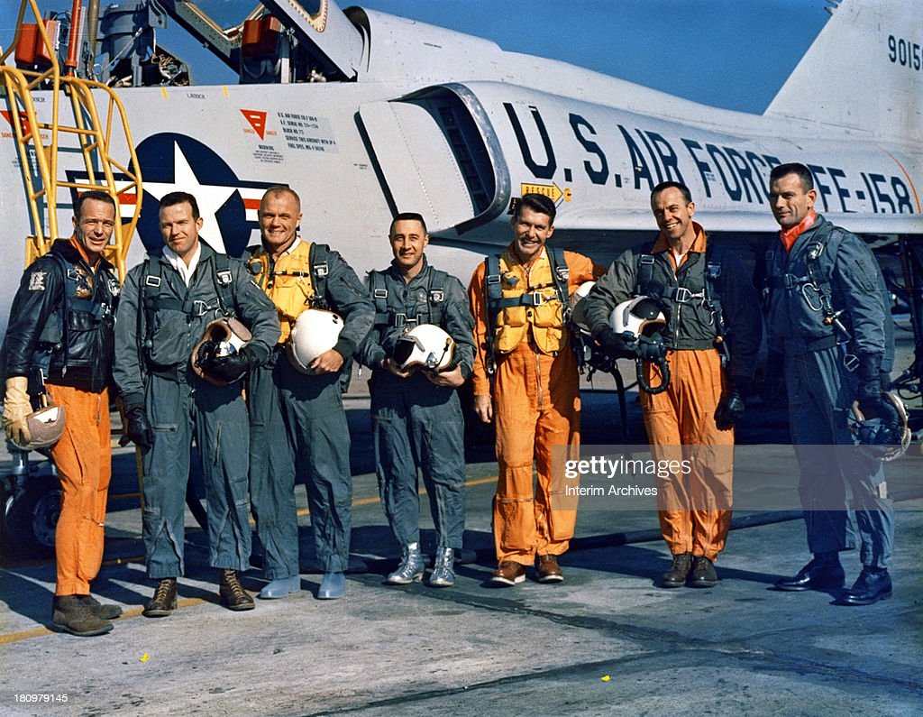 National Aeronautics and Space Administration (NASA) group portrait of the 'Original Seven' astronauts from the Mercury program as they pose in front of an Air Force jet, Florida, January 1963. From left, <a gi-track='captionPersonalityLinkClicked' href=/galleries/search?phrase=Scott+Carpenter+-+Astronaut&family=editorial&specificpeople=92555 ng-click='$event.stopPropagation()'>Scott Carpenter</a>, <a gi-track='captionPersonalityLinkClicked' href=/galleries/search?phrase=Gordon+Cooper+-+Astronaut&family=editorial&specificpeople=90970 ng-click='$event.stopPropagation()'>Gordon Cooper</a> (1927 - 2004), John Glenn, Gus Grissom (1926 - 1967), <a gi-track='captionPersonalityLinkClicked' href=/galleries/search?phrase=Wally+Schirra&family=editorial&specificpeople=263043 ng-click='$event.stopPropagation()'>Wally Schirra</a> (1923 - 2007), Alan Shepherd (1923 - 1998), and Deke Slayton (1924 - 1993).