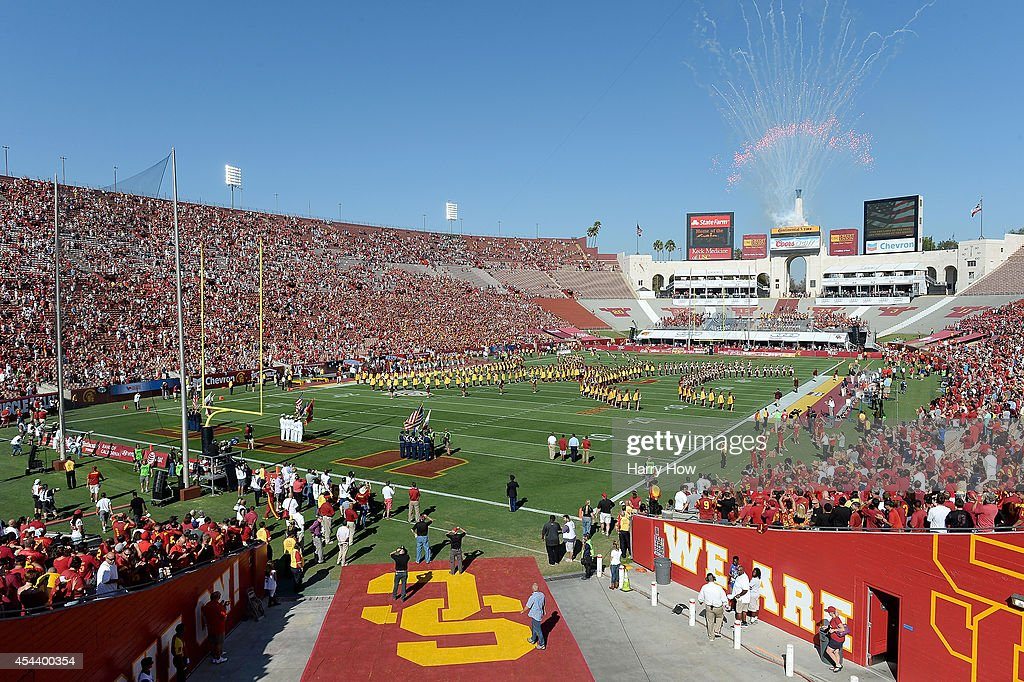 National Anthem before the game between the Fresno State Bulldogs and the USC Trojans at Los Angeles Memorial Coliseum on August 30, 2014 in Los Angeles, California.