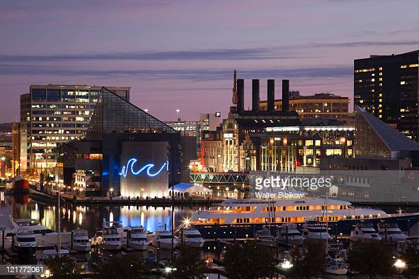 National Aquarium and Powerplant Mall at dawn, Baltimore, Maryland, USA
