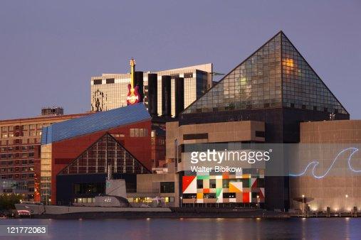 National Aquarium at dusk, Baltimore, Maryland, USA : Stock Photo