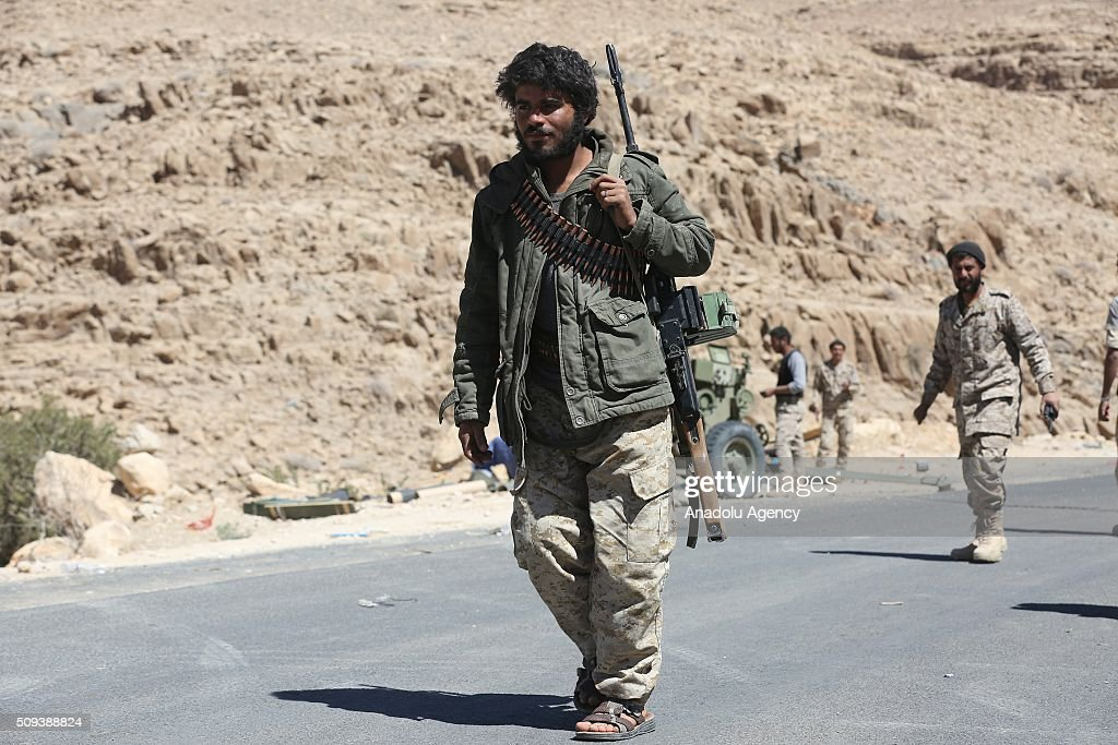 National army, which supports Yemeni President Abdrabbuh Mansour Hadi, and pro-government Yemeni National Resistance, attack Houthi Ansarullah Movement's positions to take the control of the Nehm region in Sana'a, Yemen on February 10, 2016.