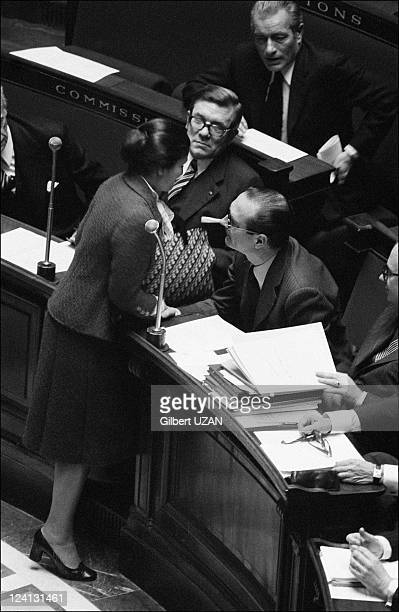 National Assembly debate over abortion in Paris France in November 1974 Simone Veil and Jacques Chirac