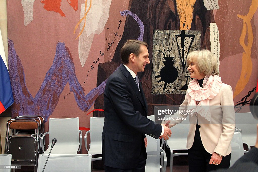 National Assembly member, French socialist Elisabeth Guigou (R) greets Russian State Duma Speaker Sergey Naryshkin during the meting in the National Assembly February 6, 2013 in Paris, France. Russian State Duma Delegation is on a 3-day visit to France.
